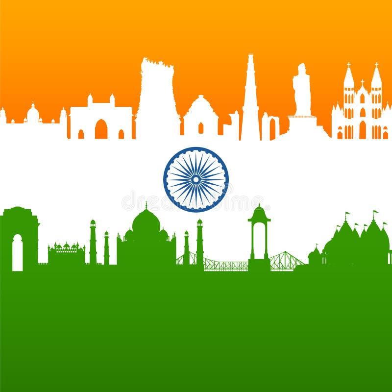 Monument et point de rep?re indiens c?l?bres pour le Jour de la D?claration d'Ind?pendance heureux de l'Inde illustration stock