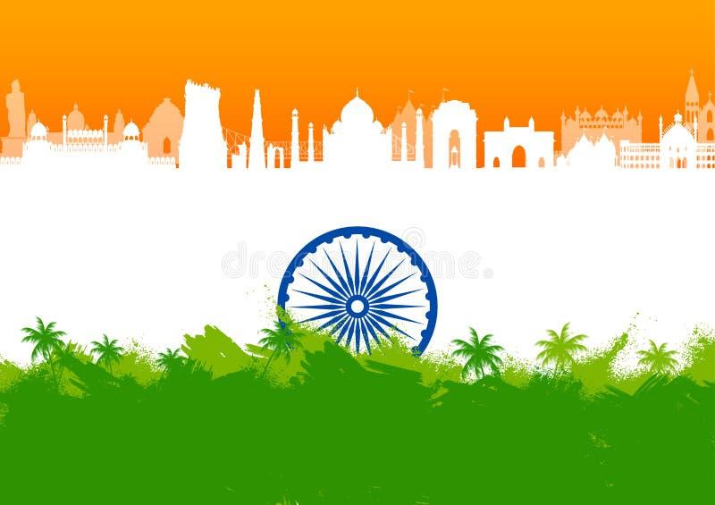 Monument et point de rep?re indiens c?l?bres pour le Jour de la D?claration d'Ind?pendance heureux de l'Inde illustration de vecteur