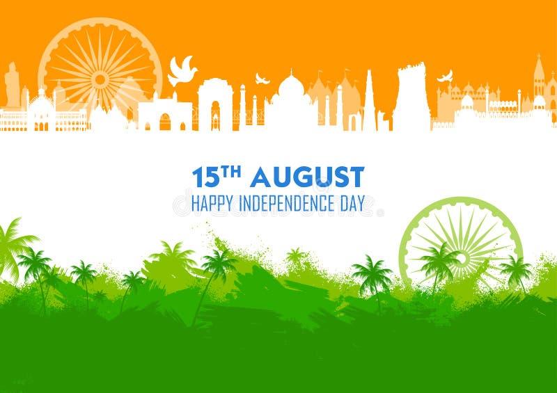 Monument et point de rep?re indiens c?l?bres pour le Jour de la D?claration d'Ind?pendance heureux de l'Inde illustration libre de droits