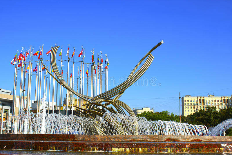 Download Monument On The Europe Square In Moscow Stock Photo - Image of flagstaff, fountain: 37878234