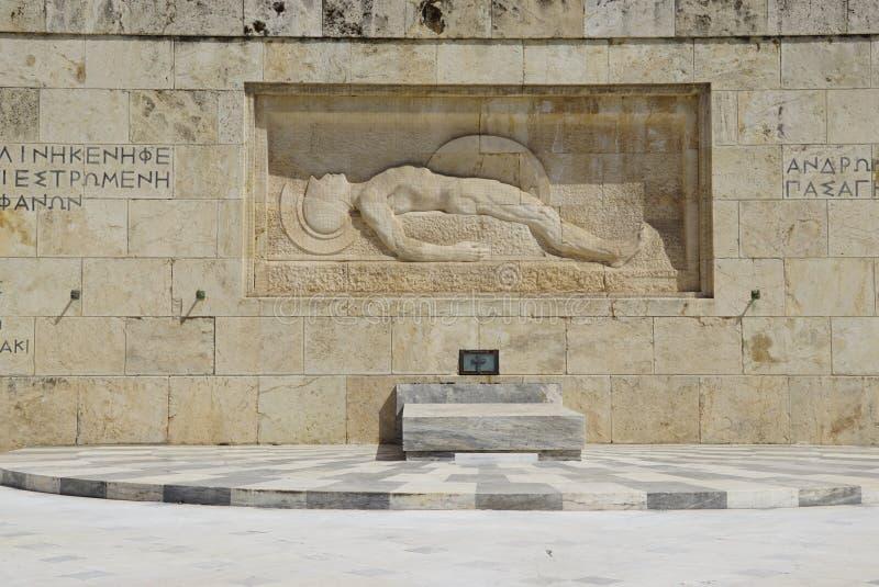 Monument för okänd soldat framme av den grekiska parlamentet i Aten royaltyfri fotografi