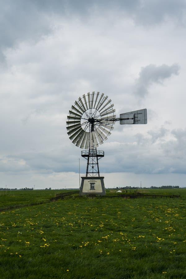 Monument 'för Waterschap 'metallisk arkitektväderkvarn Typisk holländskt holland landskap royaltyfri fotografi