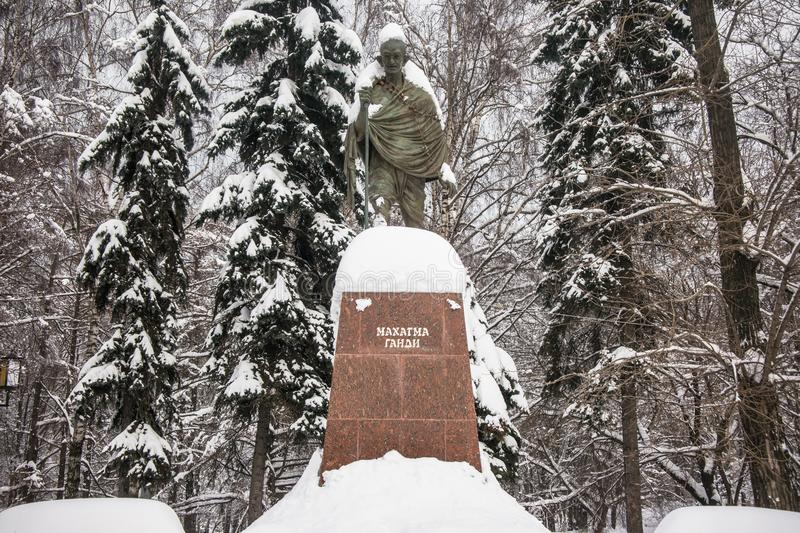 The monument of the famous Indian political and spiritual leader Mahatma Gandhi in Moscow, Russia. royalty free stock photography