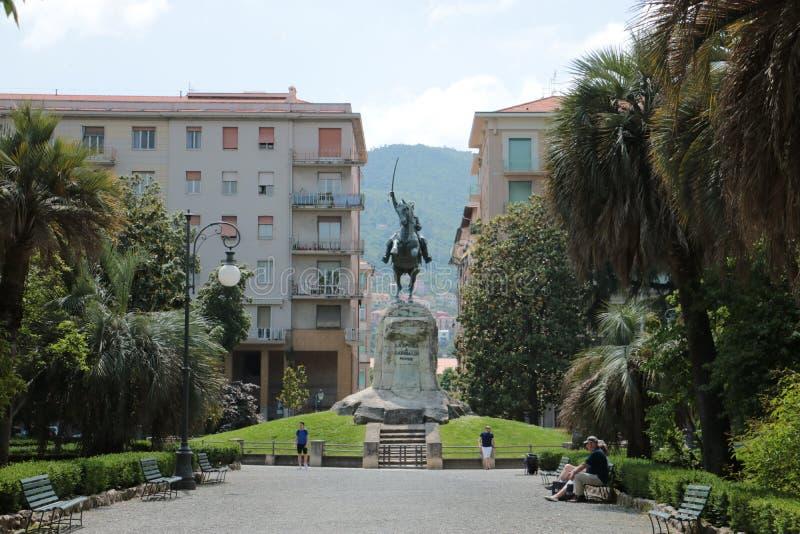 Giuseppe Garibaldi monument in La Spezia stock photos