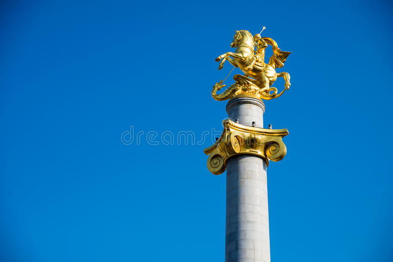 Monument on Freedom Square. In the center of Tbilisi stock photography