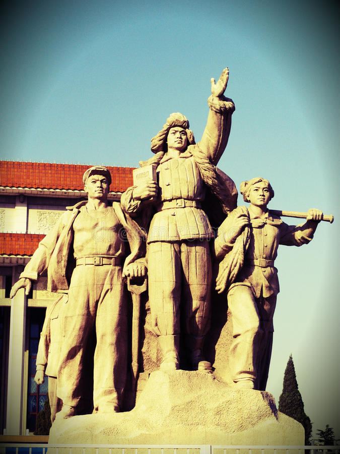 Monument in front of Mao's Mausoleum. Tiananmen Square is a large city square in the center of Beijing, China, named after the Tiananmen Gate (Gate of Heavenly