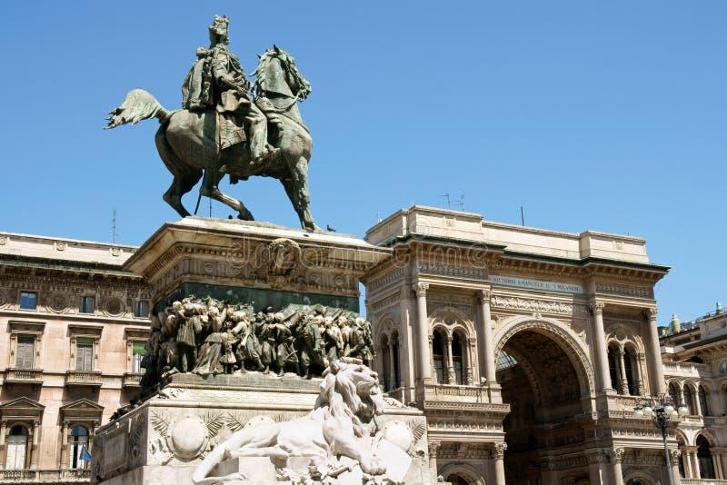 Monument and Galleria Vittorio Emanuele II royalty free stock image