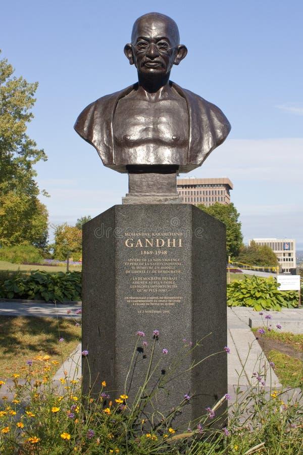 Monument GANDHI in downtown Quebec City, Quebec, Canada. Monument GANDHI, Quebec city, Canada, downtown, summer, summer, day light, TRAVEL LANDMARK, historical stock photo