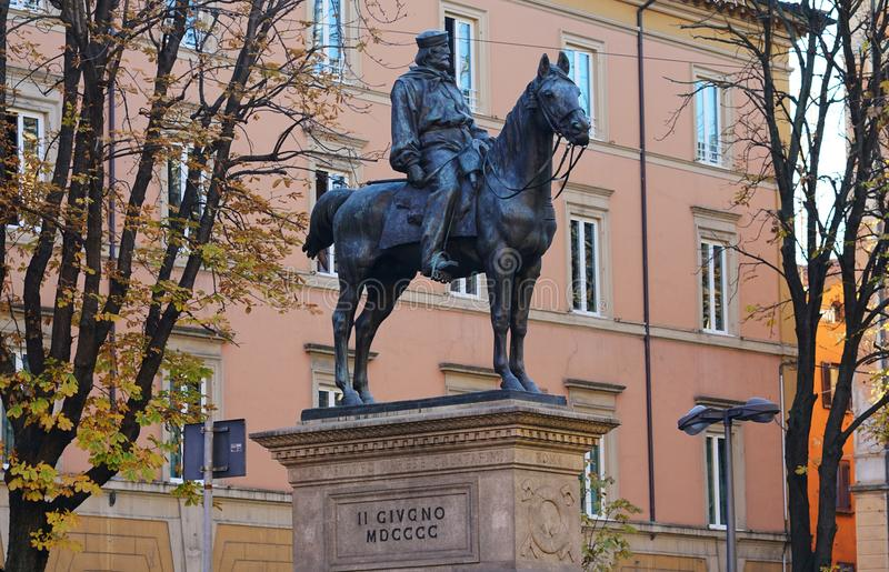 The monument of Garibaldi Bologna. Bologna Italy The monument to Garibaldi di Bologna is located about halfway down the Via dell`Indipendenza, opposite the Arena royalty free stock photo