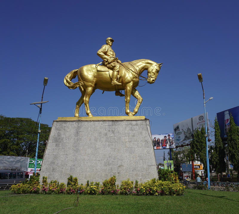 Monument of General Aung San. YANGON, MYANMAR - JAN 14, 2015. Monument of General Aung San with his horse in Yangon, Myanmar. He's considered Father of the stock images