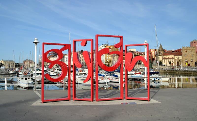 Monument geroepen Letronas in Gijon, Spanje stock afbeelding