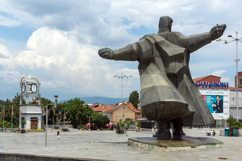 Monument of Gotse Delchev at the central square of town of Strumica, Republic of Macedonia. STRUMICA, MACEDONIA - JUNE 21, 2018: Monument of Gotse Delchev at the stock photos