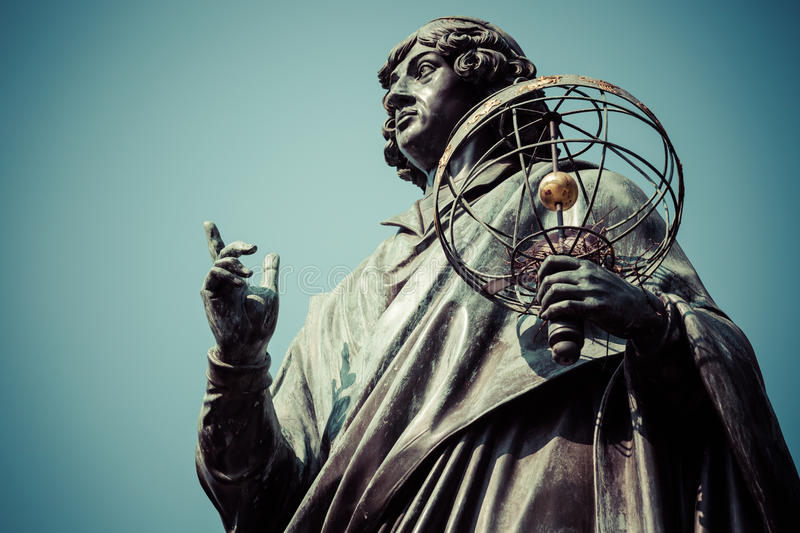 Monument of great astronomer Nicolaus Copernicus, Torun, Poland.  royalty free stock images
