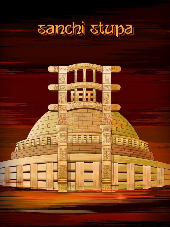Monument historique Sanchi Stupa dans Madhya Pradesh, Inde illustration de vecteur