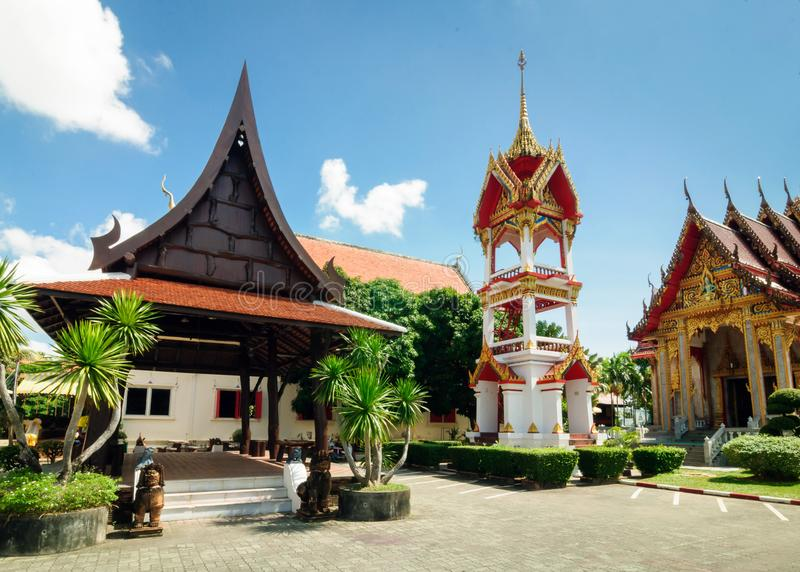 Monument of history and architecture of Thailand Buddhist temple Wat Chalong stock photo