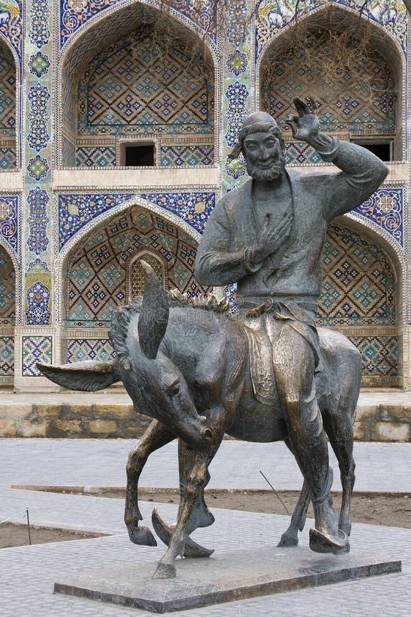 Monument Hodja Nasreddin in Boukhara, Oezbekistan royalty-vrije stock foto