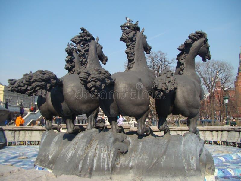 Monument horses sculpture. Monument horses sculhture horses three Moskau stock images