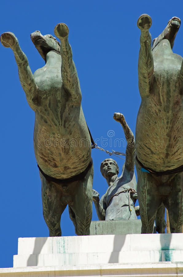 Monument with horses and warrior. Olympic stadium in Barcelona,Spain stock image