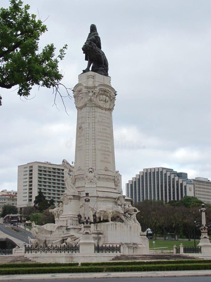 Monument i heder av Marques de Pombal royaltyfria foton