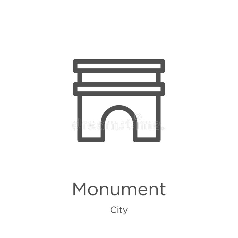 monument icon vector from city collection. Thin line monument outline icon vector illustration. Outline, thin line monument icon royalty free illustration