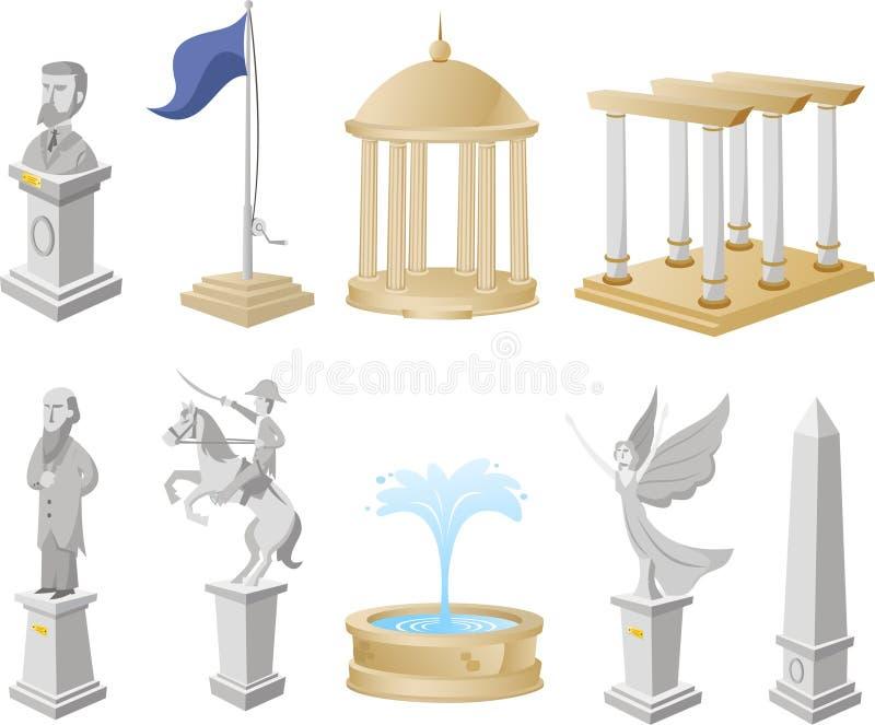 Monument-Ikonen-Symbol-Statuen-Architektur-Tourismus-Sammlung stock abbildung