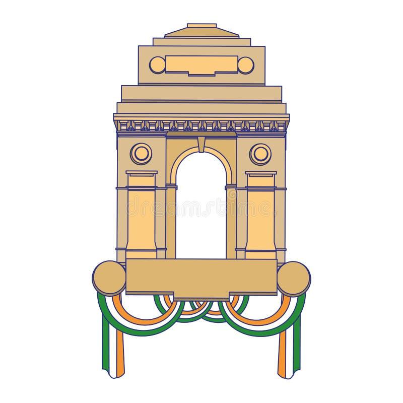 Monument indien de passage avec les lignes bleues de drapeaux illustration stock