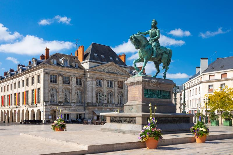 Monument of Jeanne d`Arc on Place du Martroi in Orleans, France stock photos