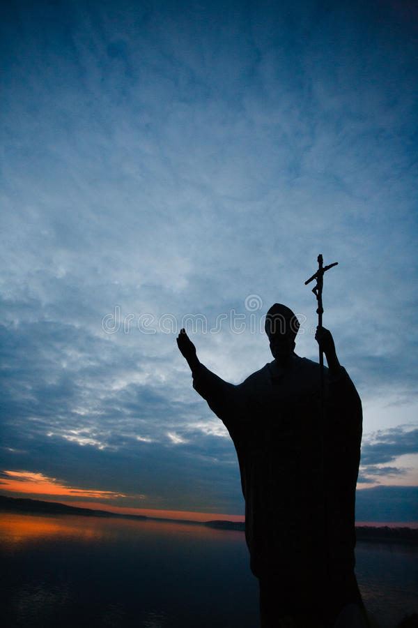 Monument of John Paul II in Czaplinek stock photo
