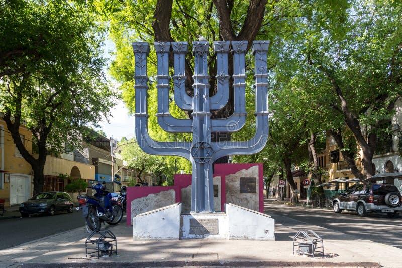 Monument juif de Menorah en Mendoza, Argentine photographie stock libre de droits