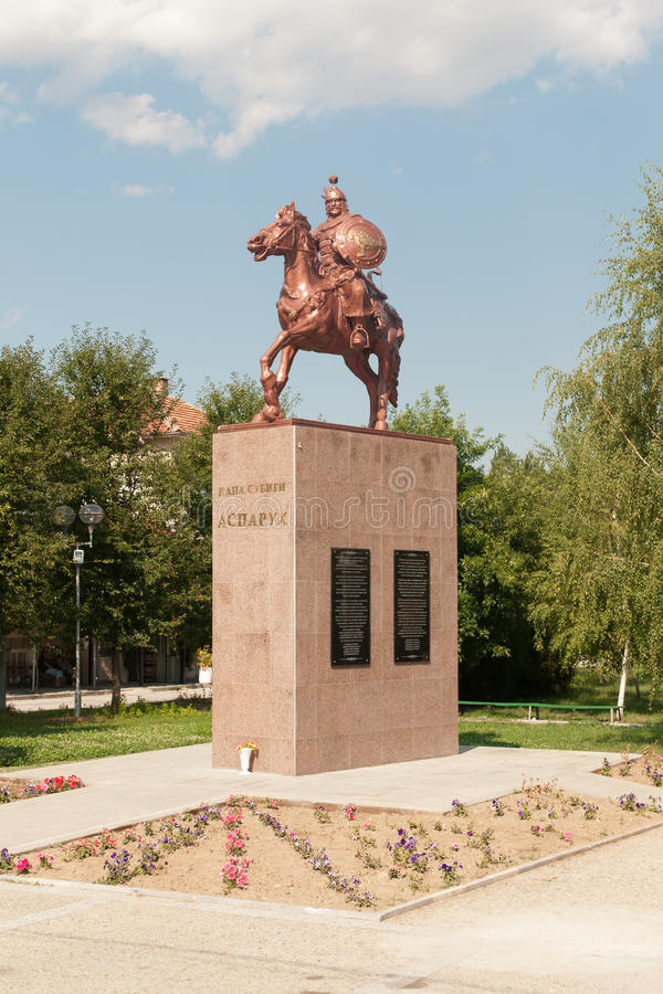 Monument of Khan Asparukh in Strelcha Bulgaria. Asparuh (or Isperih) was ruler of a Bulgar tribe in the second half of the 7th century and is credited with the royalty free stock photo