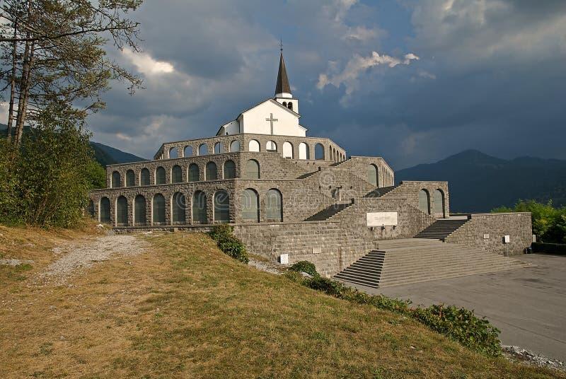 Monument in Kobarid, Slovenia. Memorial above Kobarid reminds Italian victims of World War One, Slovenia stock photography