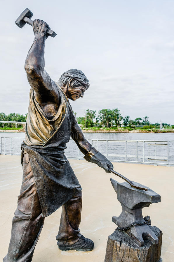 Monument of Labor Blacksmith sculpture. This monument is a salute to the dedication and hard work of all those who built the city of Omaha, Nebraska. It is the royalty free stock images