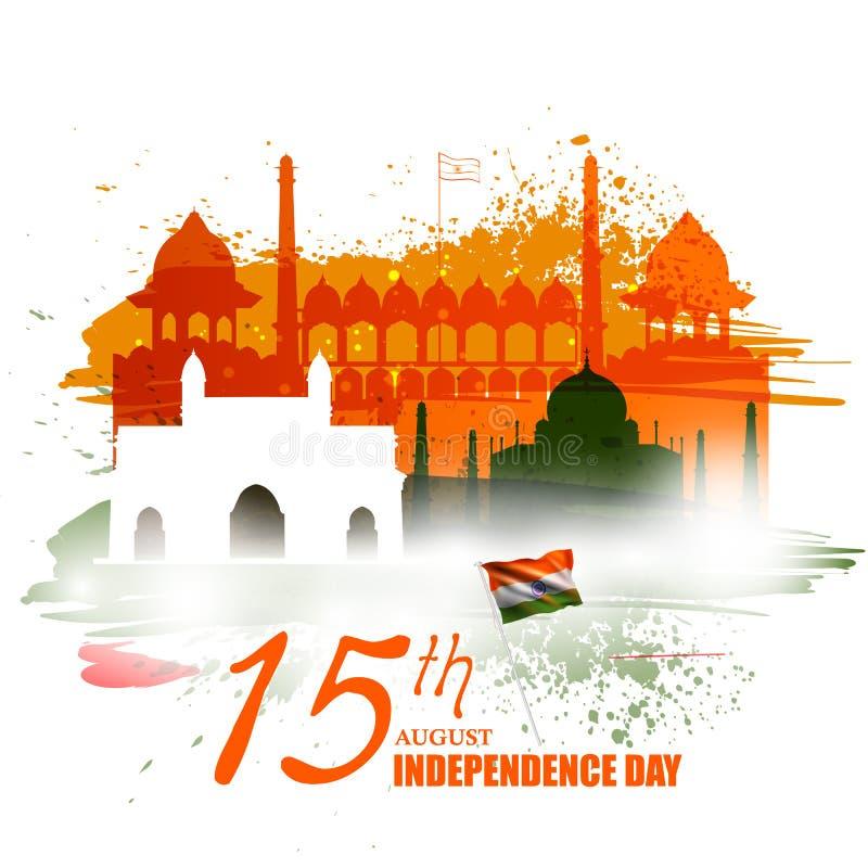 Monument and Landmark of India on Indian Independence Day celebration background royalty free illustration