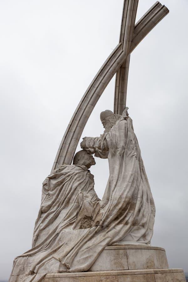 Monument le couronnement de St Stephen Esztergom hungary images libres de droits