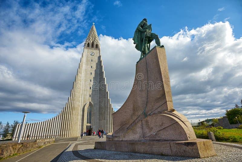 Monument of Leif Ericson stock photos