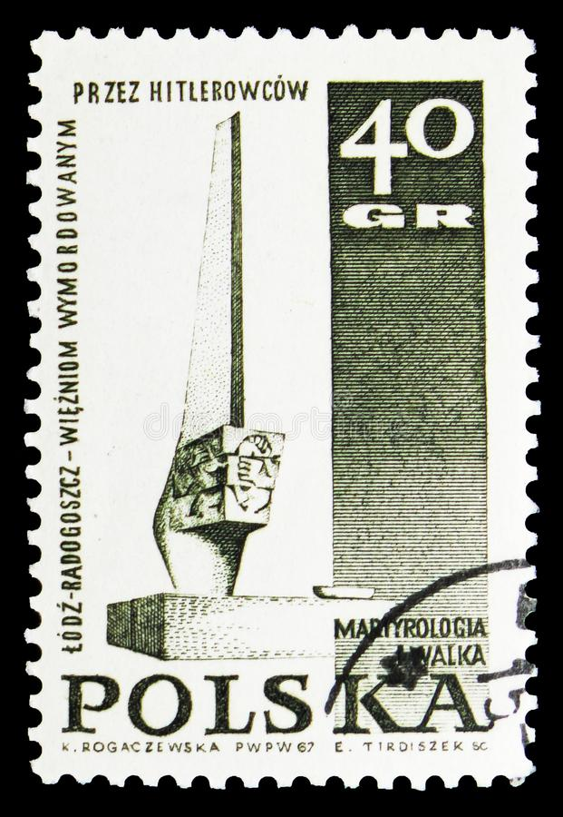 Monument in Lodz, Struggle and Martyrdom of the Polish People, 1939-45 serie, circa 1967. MOSCOW, RUSSIA - SEPTEMBER 15, 2018: A stamp printed in Poland shows royalty free illustration