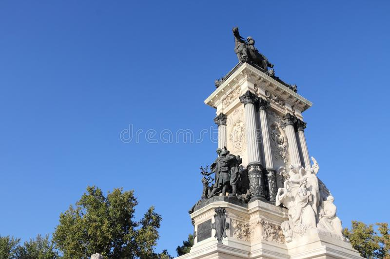 Monument Madrids Alfonso stockfoto