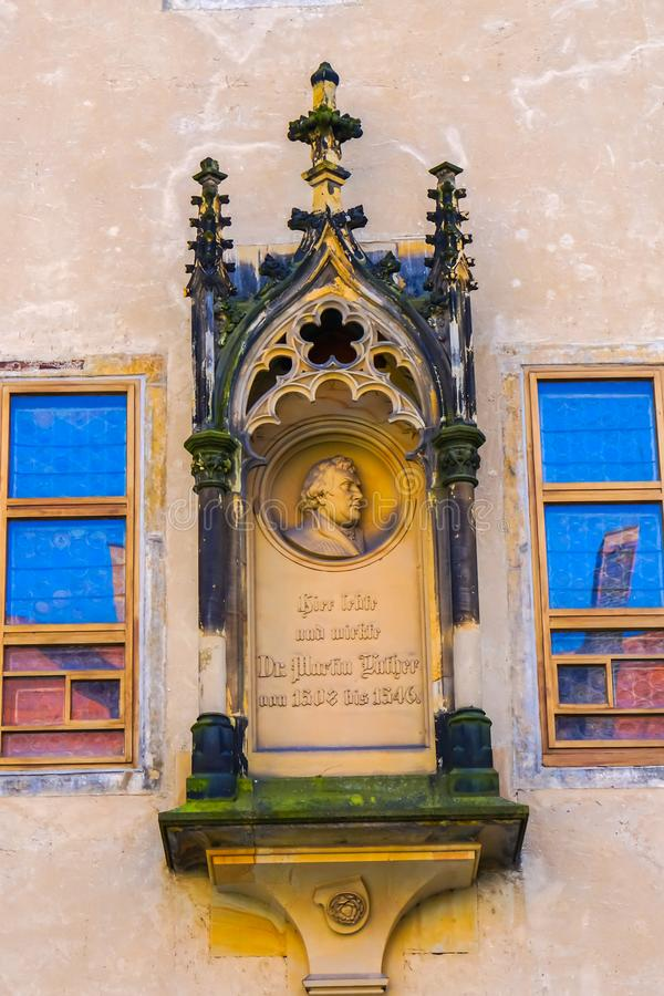 Monument Martin Luther & x27; s Huisklooster Lutherstadt Wittenberg stock afbeeldingen