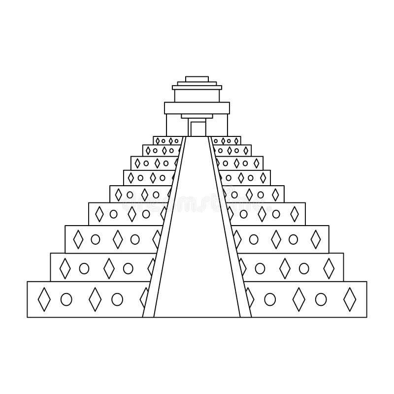Monument mexicain de pyramide d'isolement en noir et blanc illustration de vecteur