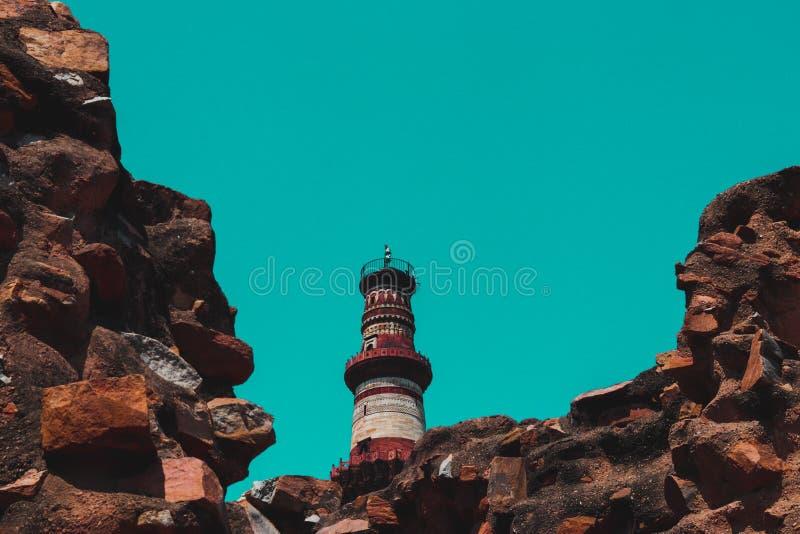 Monument minar Delhi Inde de Qutub photographie stock