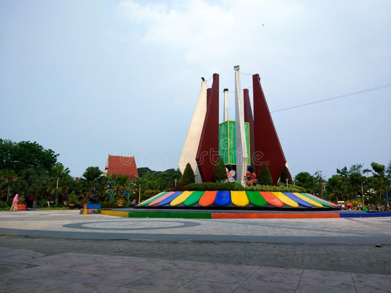 MONUMENT. Mojokerto/Indonesia 07292018 : This is the Mojokerto City Square monument which is located in the city center, a quite comfortable place to relax and stock photo