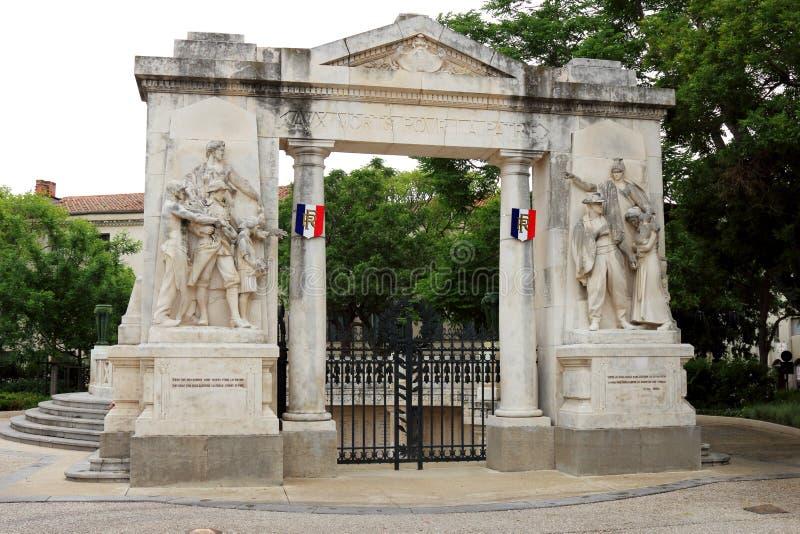 Monument Morts aux., Nîmes, France photographie stock libre de droits