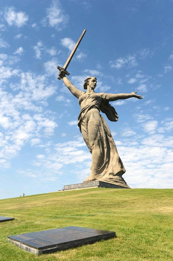 The monument the Motherland calls of the Mamaev Kurgan in Volgograd. stock photography