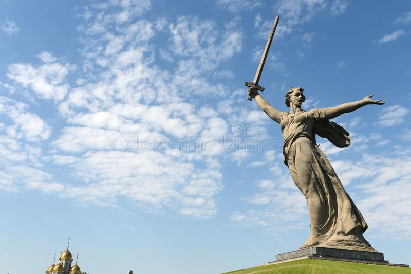 The monument the Motherland calls of the Mamaev Kurgan in Volgograd stock photography