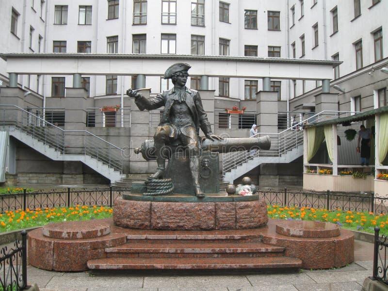 Monument Munchausen, St Petersburg, Ryssland arkivfoton