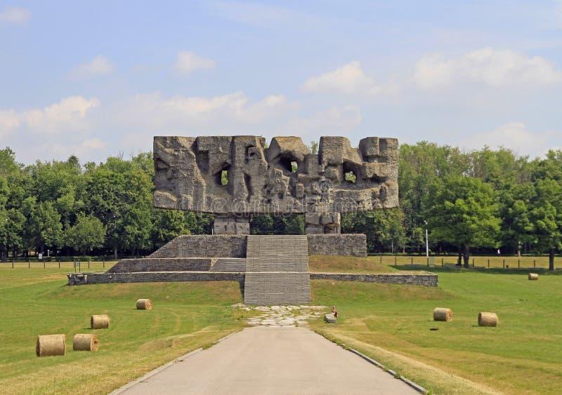 Monument in Museum` Majdanek concentratiekamp ` royalty-vrije stock foto
