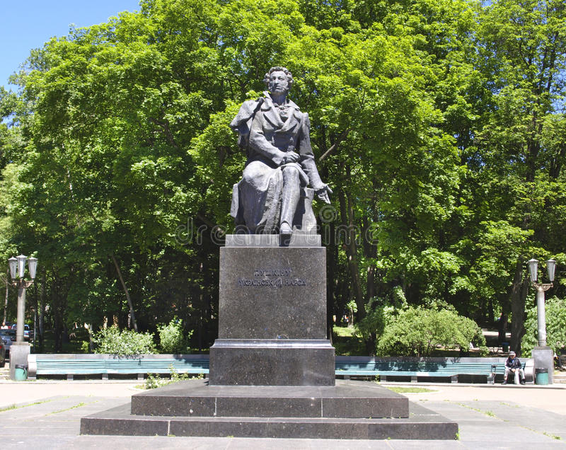 Monument nach Pushkin in Kiew in Ukraine stockbilder