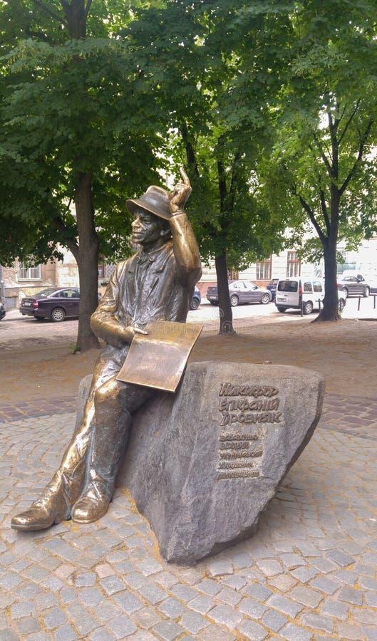Monument naiven Malers Nikifor Epifaniy Drovnyaks alias Nikifor Krynicki- lizenzfreies stockbild
