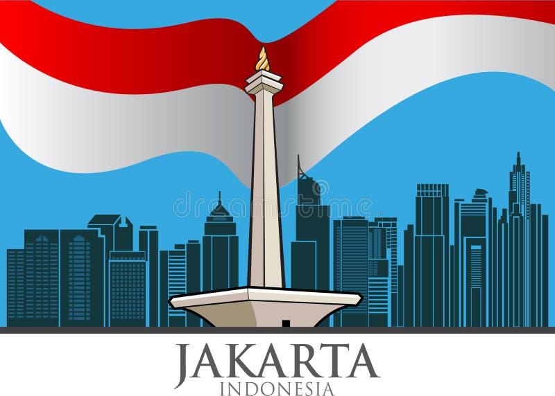 Monument national, Jakarta illustration de vecteur