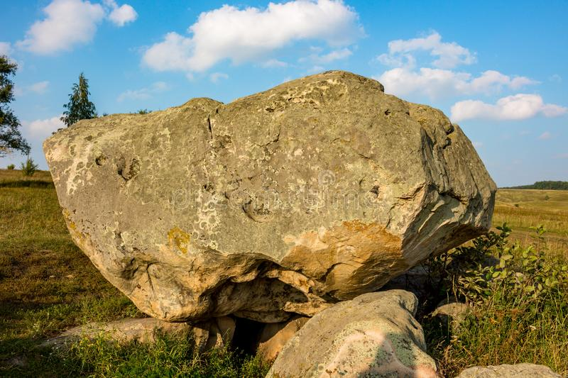 The monument of nature is megalith `Horse Stone` Kon kamen in the valley of the Krasivaya Mecha River. Kozie village, Efremovskiy district, Tulskiy region royalty free stock image